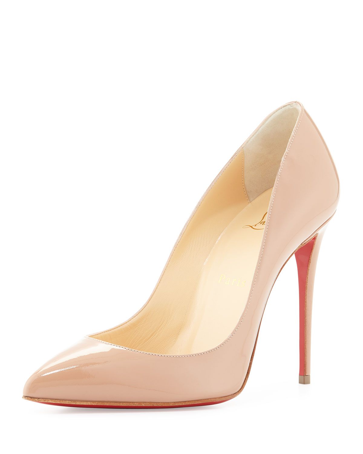 Christian Louboutin Pigalle Follies Patent Point-Toe Red Sole Pump, Nude, Women's, Size: 39.5B/9.5B