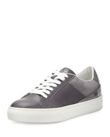 Mixed Leather Low-Top Lace-Up Sneaker, Gray