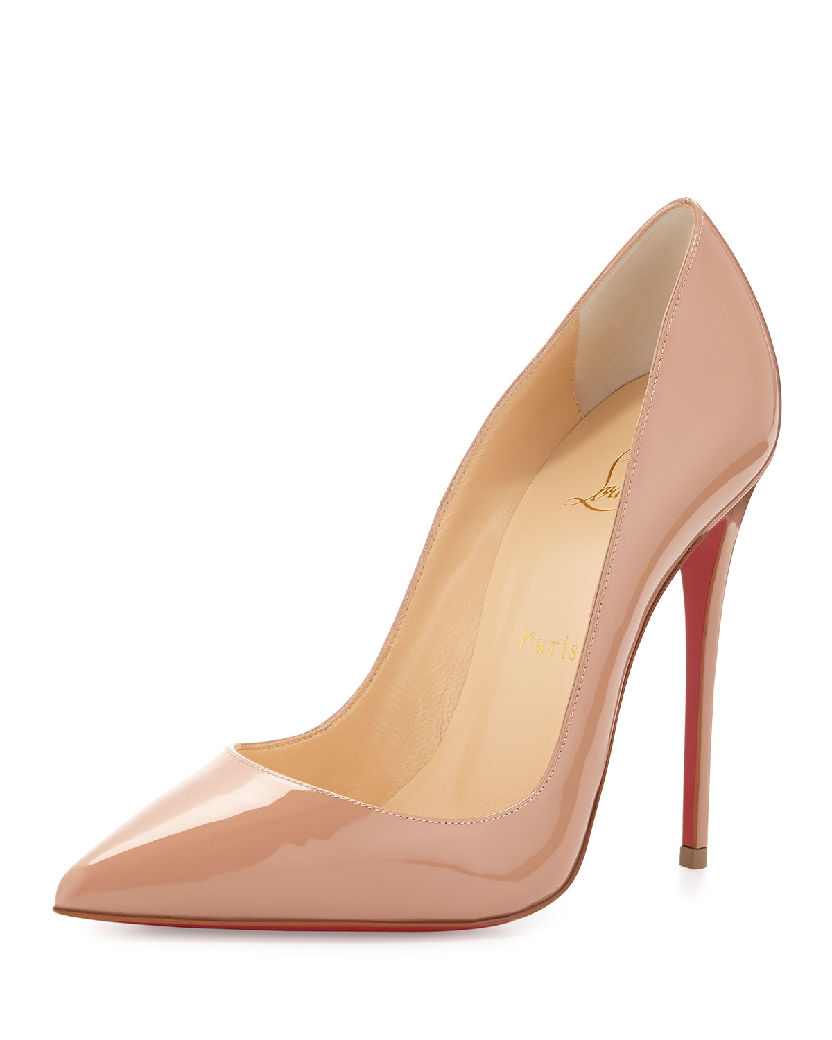 Christian Louboutin So Kate Patent Red Sole Pump, Nude, Women's, Size: 37.5B/7.5B