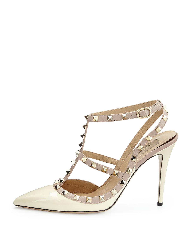 Valentino Rockstud Patent Sandal, Ivory, Women's, Size: 40.5B/10.5B, Ivory/Nude