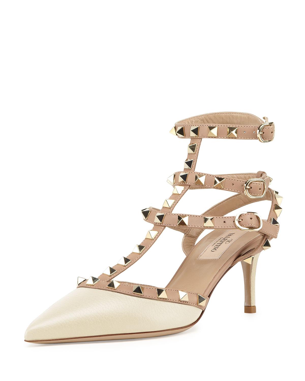 Valentino Rockstud Patent Leather Mid-Heel Slingback, Women's, Size: 35.0B/5.0B, Black/Nude