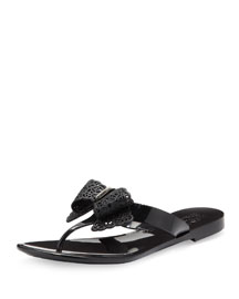 Pandy Jelly Thong Sandal with Lace Bow, Nero