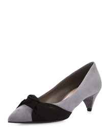 Bow-Detailed Suede Mid-Heel Pump, Gravel