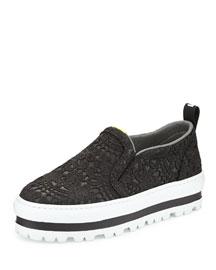 Platform Lace Over Leather Skate Shoe