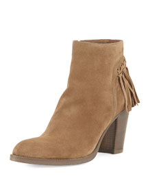 Suede Knotted Fringe Ankle Boot