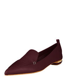Pebbled Leather Point-Toe Loafer, Dark Purple