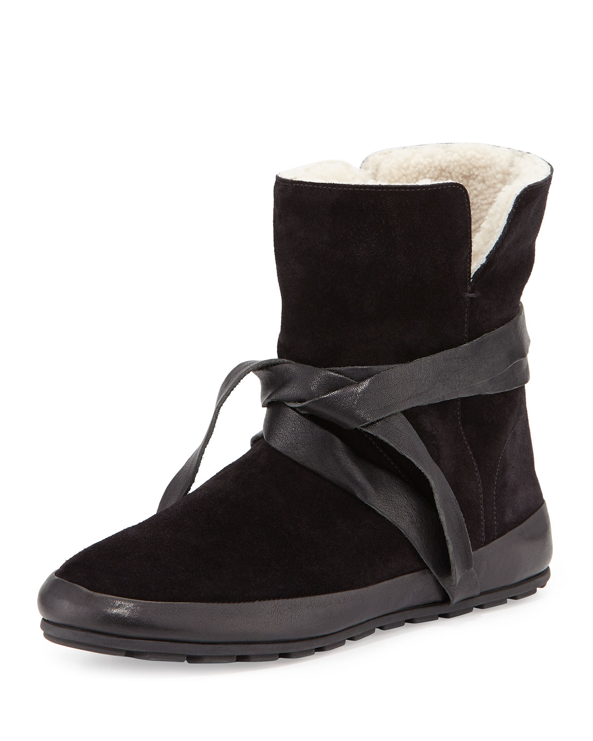 Isabel Marant Nygel Shearling Fur-Lined Wrap-Around Bootie, Black