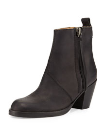 Pistol Tumbled Leather Ankle Boot