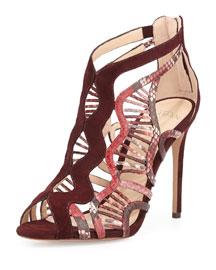 Koleta Suede & Python Cutout Sandal, Merlot