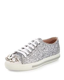 Glitter Crystal Cap-Toe Sneaker, Argento