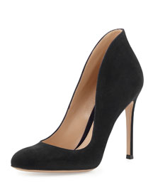 Round-Toe Suede Flare Pump, Black