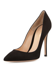 Suede Point-Toe Pump, Black