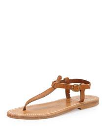 Leather T-Strap Flat Sandal