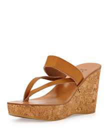 Asymmetric Leather Strap Wedge Sandal
