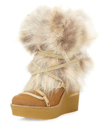 Fur Wrap-Around Wedge Ankle Boot