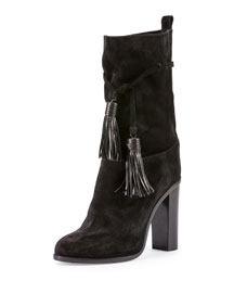 Suede Tassel Mid-Calf Boot, Black