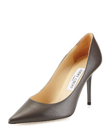 Agnes Leather Point-Toe Pump, Gray