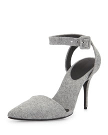 Lovisa Felt Ankle-Wrap Point-Toe Sandal