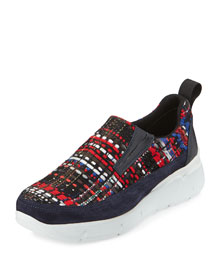 Multicolor Tweed & Suede Trainer