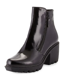 Grunge Double-Zip Leather Bootie