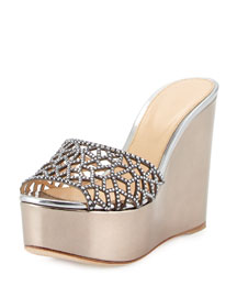 Tresor Strass Crystal Metallic Wedge Slide Sandal
