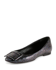 Sparkle Leather Buckle Ballet Flat