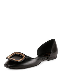 Ballerine Chips Chain-Buckle Flat, Black