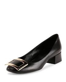 Belle de Nuit Leather Buckle Low-Heel Pump, Black