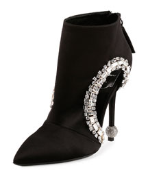 Crystal-Trimmed Cutout Bootie