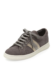 Nubuck Monili Lace-Up Sneaker, Onyx