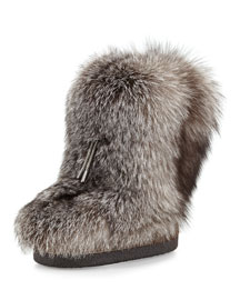 Fox Fur Snow Boot with Monili Beading