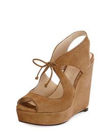 Nayeem Suede Wedge Sandal, Cinnamon