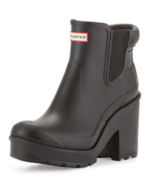 Original Chelsea Block-Heel Rain Boot, Black
