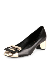 Decollette U-Cut Low-Heel Pump, Gold/Black