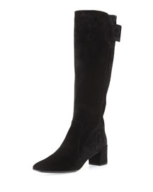 Polly Suede Buckle Knee Boot, Black