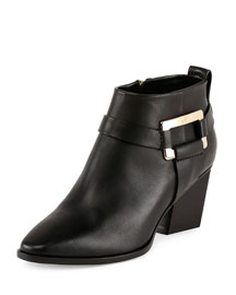 Leather Skyscraper Ankle Bootie, Black