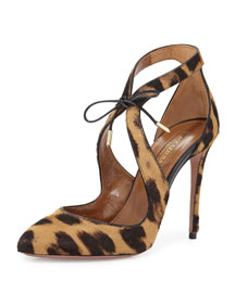 Stella Tie-Front Calf-Hair Pump Leopard