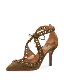 Theo Studs 75 Suede Pump, Moss