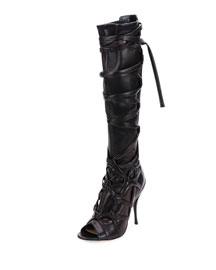 Anneli Wraparound-Strap Knee Boot, Black