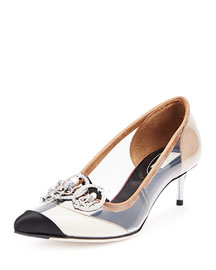 Transparent Jeweled Cap-Toe Pump