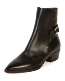 Rockstud Buckled Leather Point-Toe Bootie