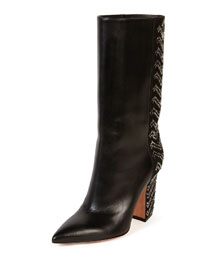 Chevron-Beaded Leather Point-Toe Boot