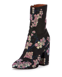Floral Ankle Bootie, Black/Pink