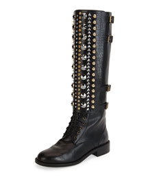 Croc-Embossed Studded Combat Boot