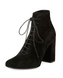 Babies Suede Lace-Up Bootie, Black