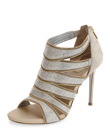 Cutout Zipper-Trim Ankle Bootie, Beige