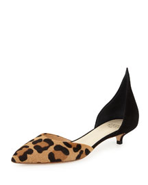 Low-Heel Calf-Hair d'Orsay Pump, Natural/Leopard