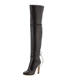 Whipstitched Tie-Back Over-The-Knee Boot