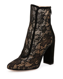 Lace Suede-Trimmed Ankle Boot