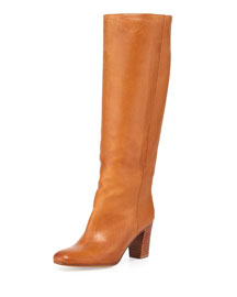 Leather To-the-Knee Boot, Brown